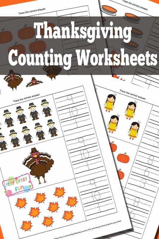 Thanksgiving Counting Worksheets for Preschoolers Ideas Thanksgiving Counting Worksheets Itsybitsyfun