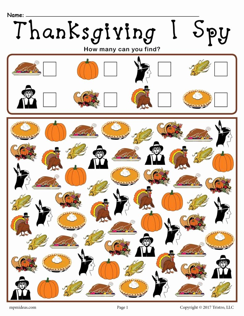 Thanksgiving Counting Worksheets for Preschoolers Printable Thanksgiving I Spy Printable Thanksgiving Counting Worksheet