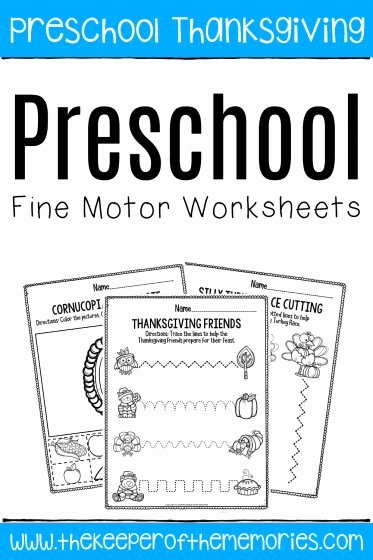Thanksgiving Worksheets for Preschoolers Kids Printable Fine Motor Thanksgiving Preschool Worksheets