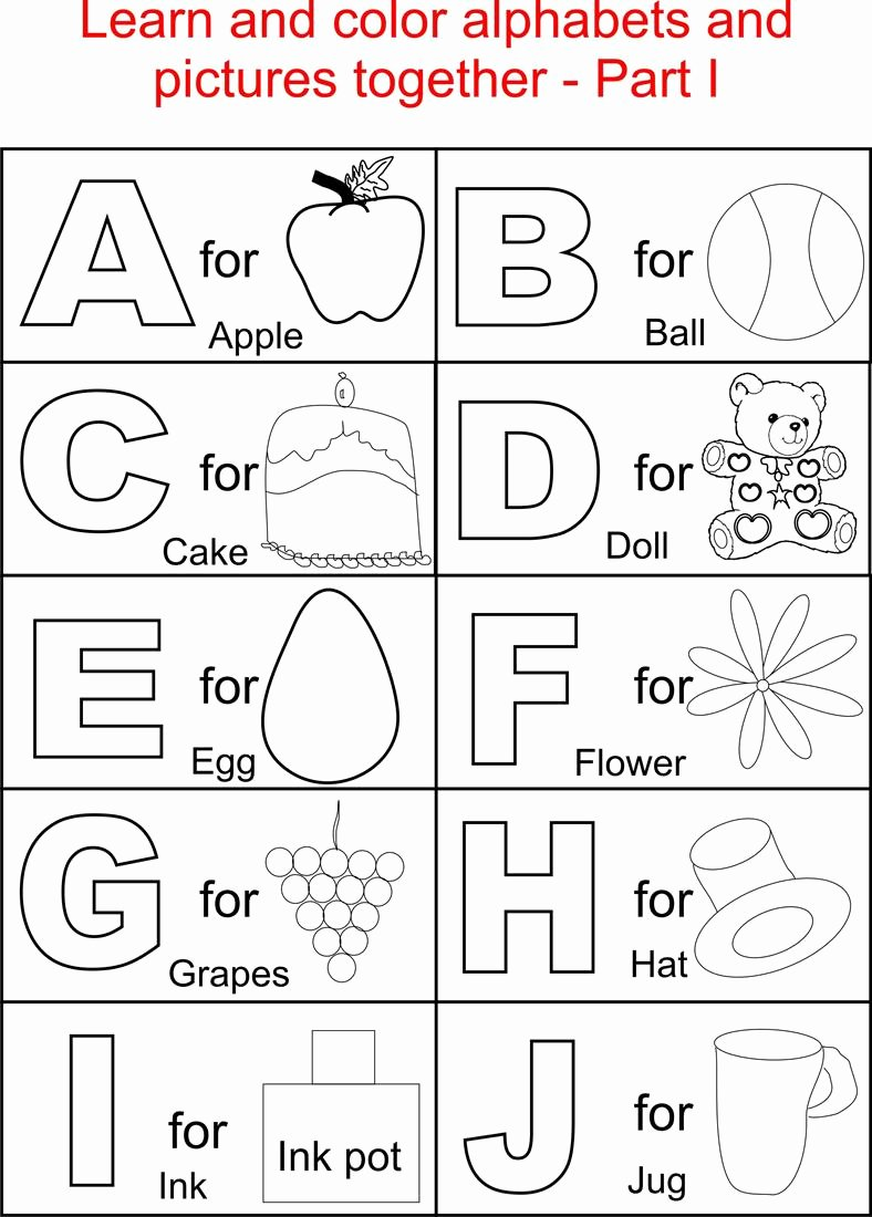The Alphabet Worksheets for Preschoolers Printable Worksheet Alphabet Coloring Pages for Kids Printable