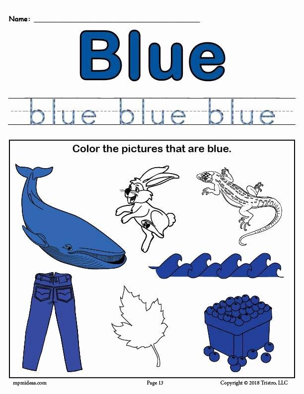 The Color Blue Worksheets for Preschoolers Best Of Color Blue Worksheet