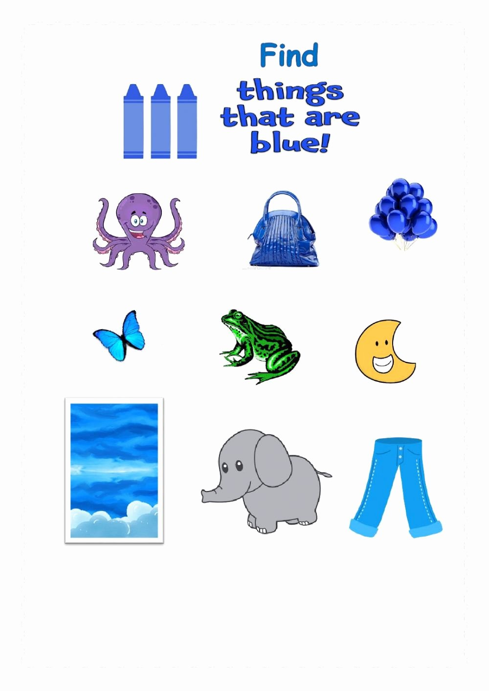 The Color Blue Worksheets for Preschoolers New Colour Blue Interactive Worksheet