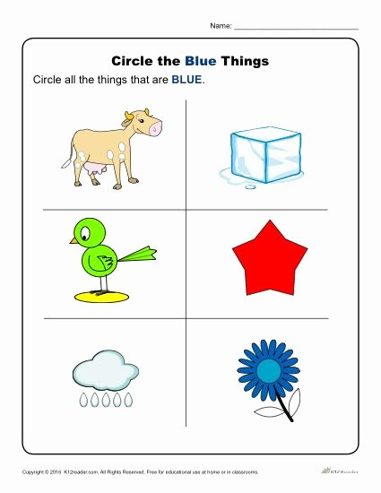 The Color Blue Worksheets for Preschoolers top Circle the Blue Things