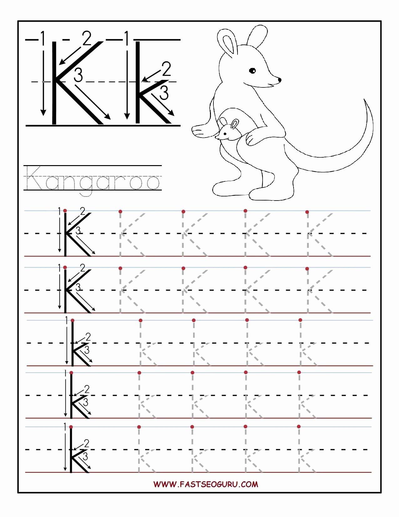 The Letter K Worksheets for Preschoolers Best Of Math Worksheet Printable Letter K Tracing Worksheets for