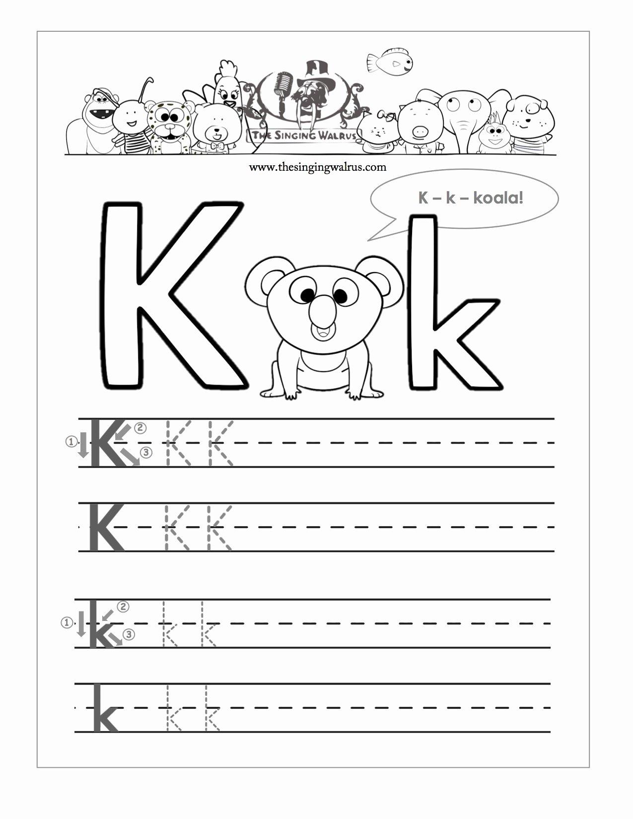 The Letter K Worksheets for Preschoolers Fresh Worksheet Letter K Preschoolets for Kindergarten Learning