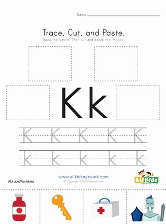 The Letter K Worksheets for Preschoolers Inspirational Trace Cut and Paste Letter K Worksheet