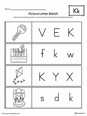 The Letter K Worksheets for Preschoolers New Picture Letter Match Letter K Worksheet