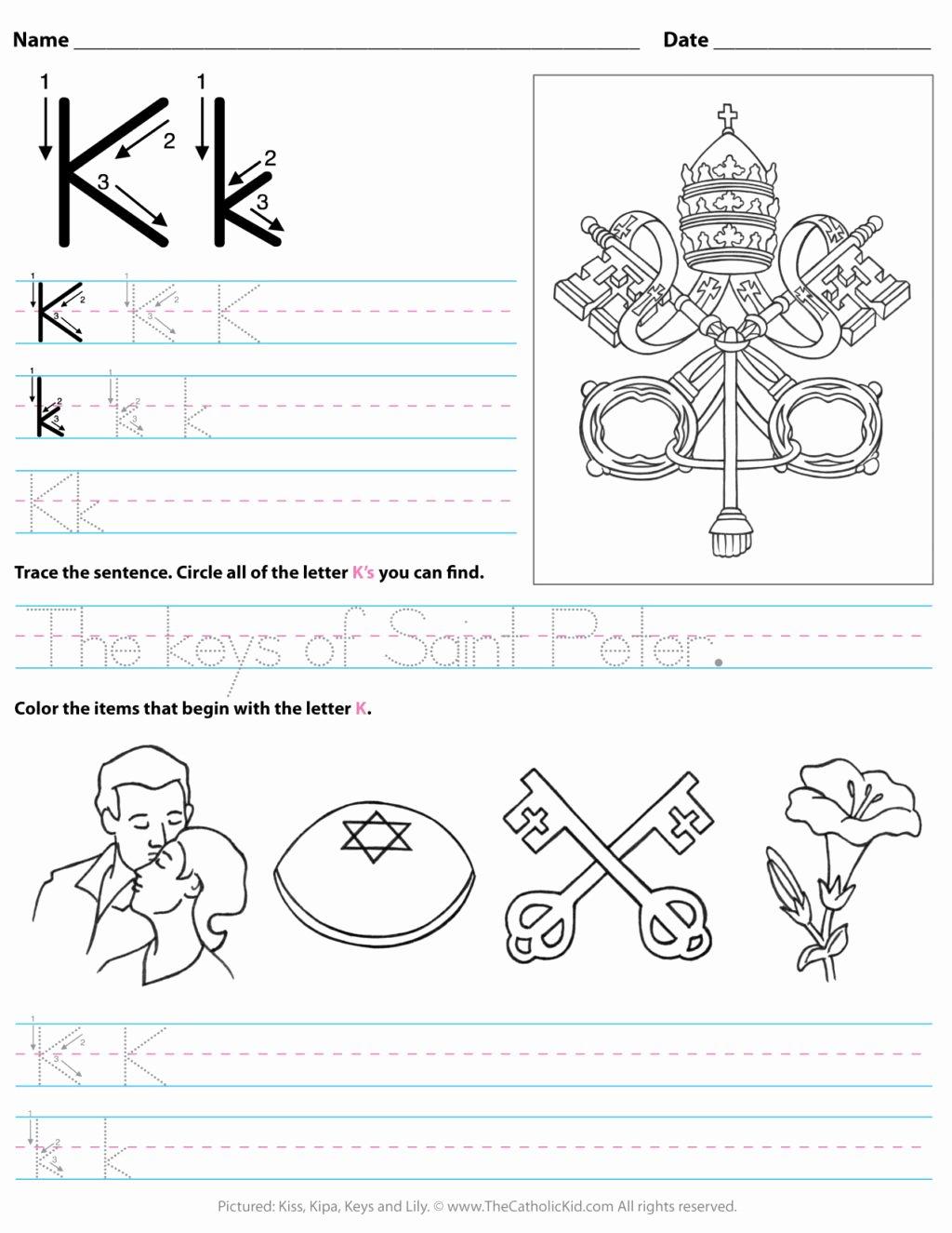 The Letter K Worksheets for Preschoolers top Worksheet Freets for toddlers Printable K Preschool Letter