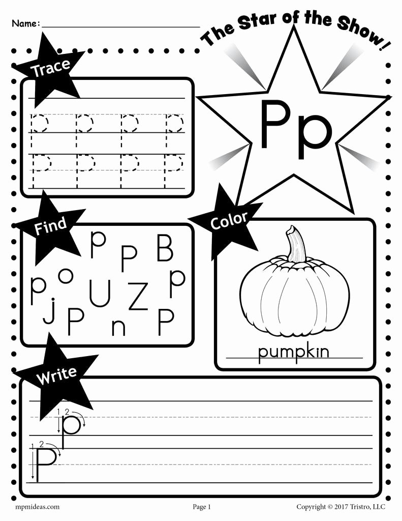 The Letter P Worksheets for Preschoolers Free Letter P Worksheet Tracing Coloring Writing & More