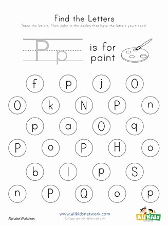 The Letter P Worksheets for Preschoolers New Find the Letter P Worksheet