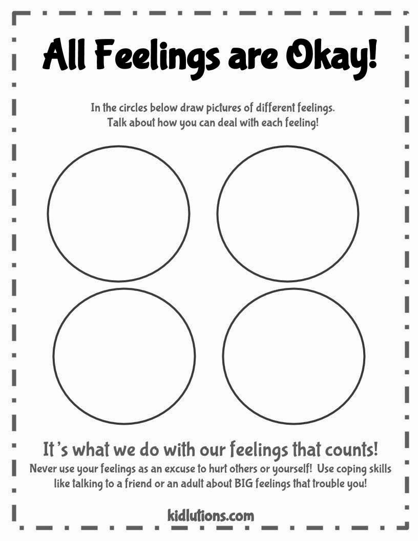 Therapy Worksheets for Preschoolers Kids All Feelings are Okay Free Printable Good to Use with