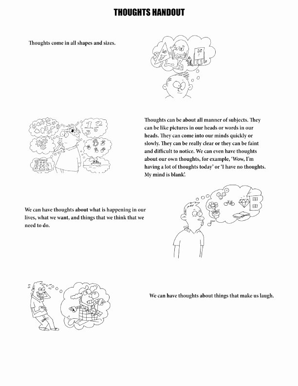 Therapy Worksheets for Preschoolers top therapy Worksheets for Kids thoughts Handout Pdf