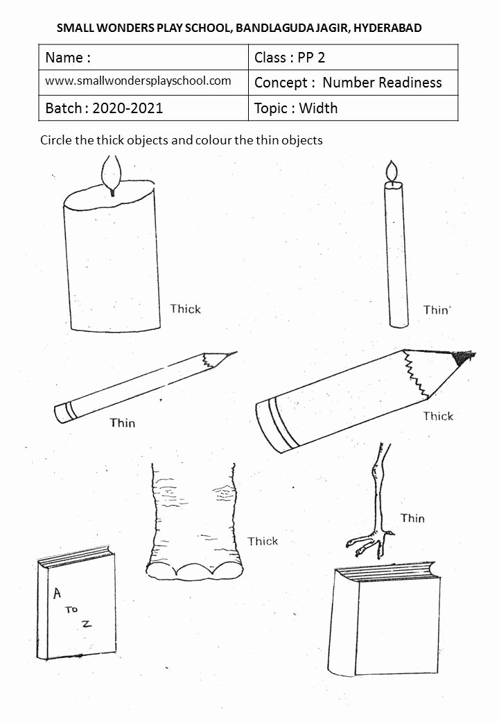Thick and Thin Worksheets for Preschoolers New Kindergarten Work Sheets