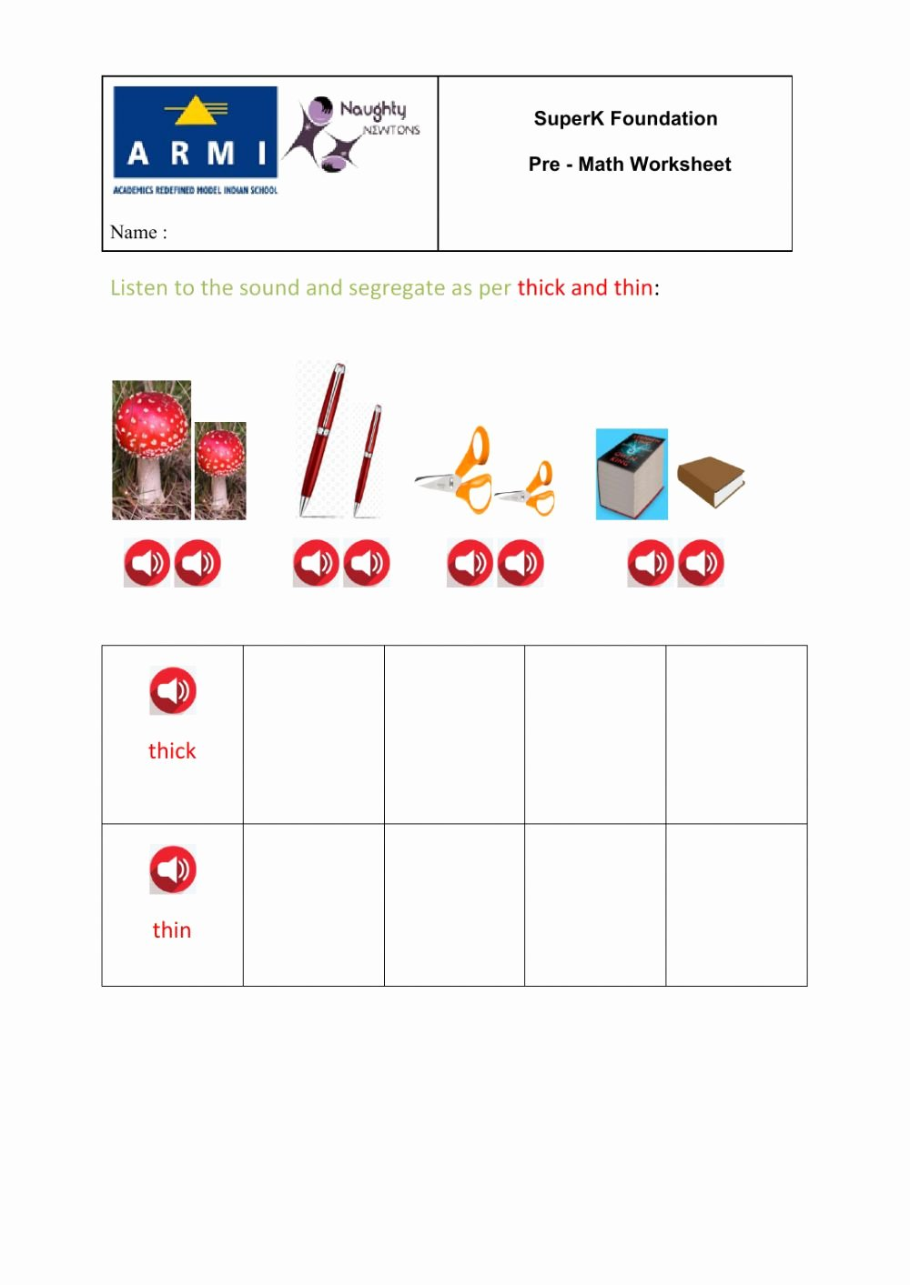 Thick and Thin Worksheets for Preschoolers New Thick & Thin Interactive Worksheet