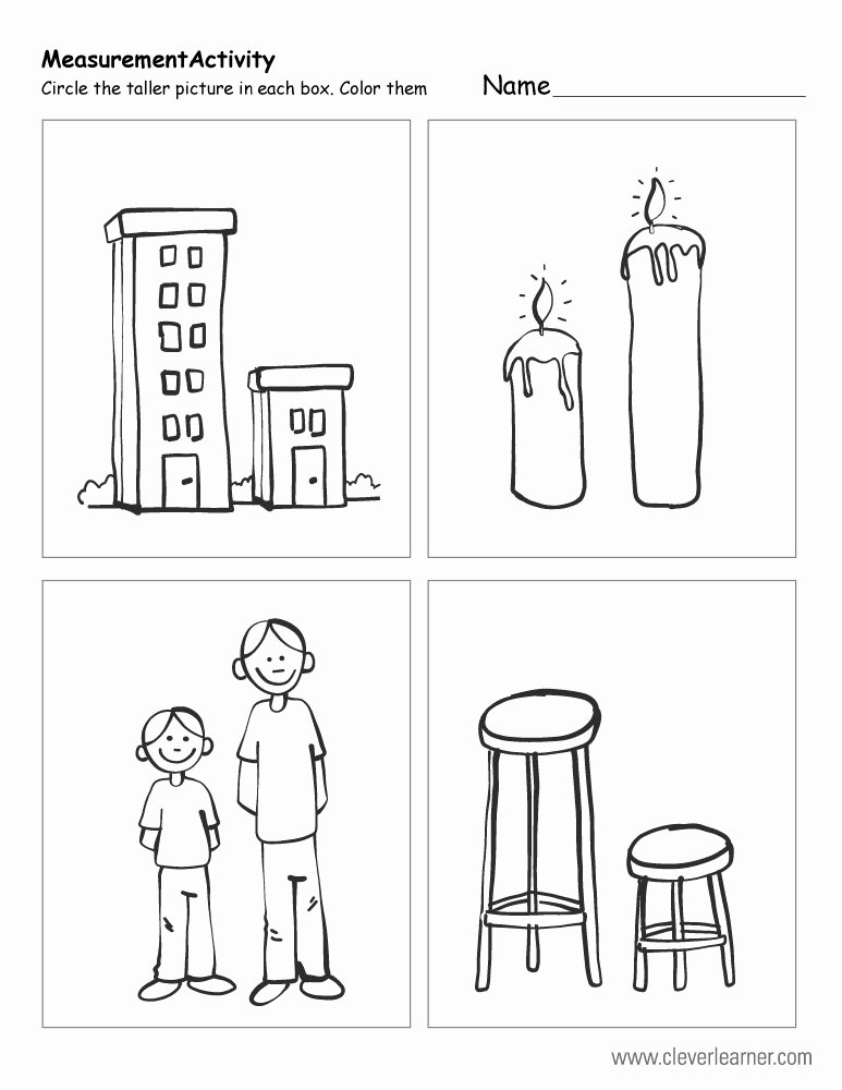 Thick and Thin Worksheets for Preschoolers Printable Free Printable Worksheets On Measuring Sizes Tall and Short