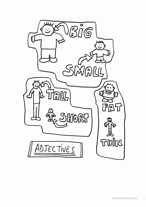 Thick and Thin Worksheets for Preschoolers top Adjectives Big Small Short Tall Fat Thin English Esl