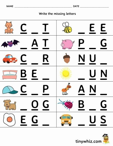 Three Letter Words Worksheets for Preschoolers Printable Free Printable Worksheet Write the Missing Letter 3 Letter