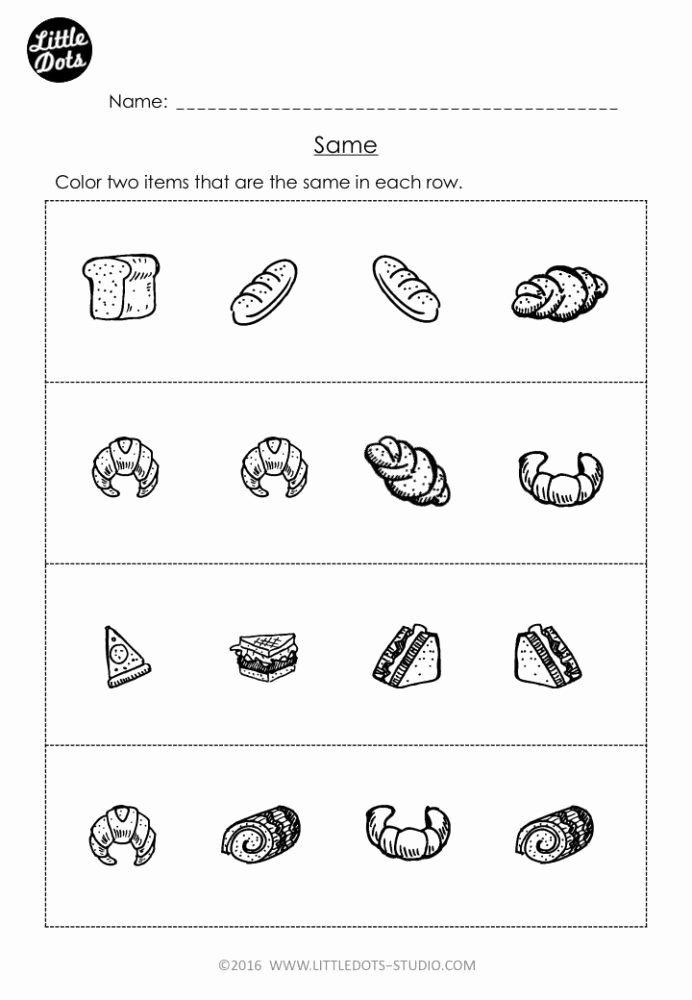 Time Worksheets for Preschoolers Kids Free Same and Different Worksheet for Pre Preschool Math