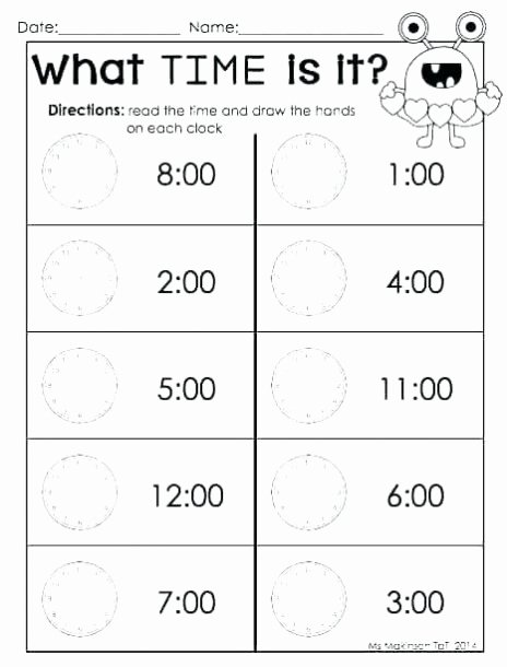 Time Worksheets for Preschoolers Lovely Worksheet Printable Time Worksheets Kindergarten and An