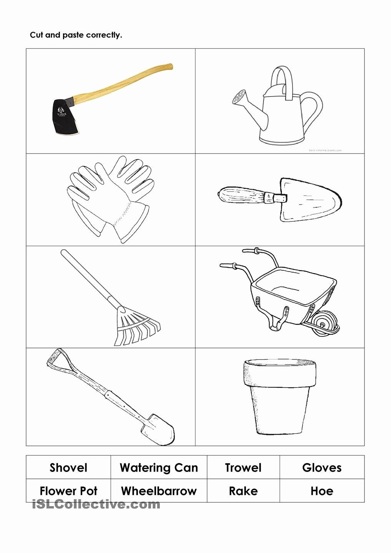 Tools Worksheets for Preschoolers Printable Gardening tools