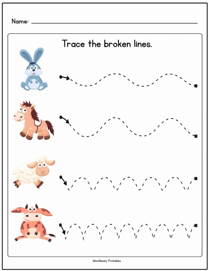 Trace the Lines Worksheets for Preschoolers Best Of Line Tracing Worksheets for toddlers Worksheets Data
