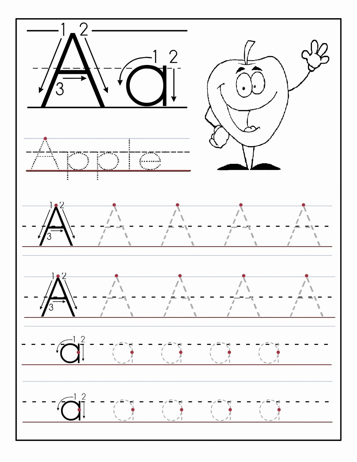 Tracing Letter Worksheets for Preschoolers top Trace Letter A Sheets to Print
