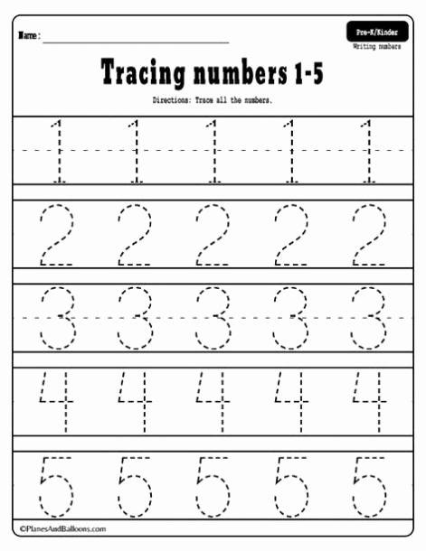 Tracing Numbers 1 Worksheets for Preschoolers Free Printable Tracing Numbers 1 5 Worksheets In 2020