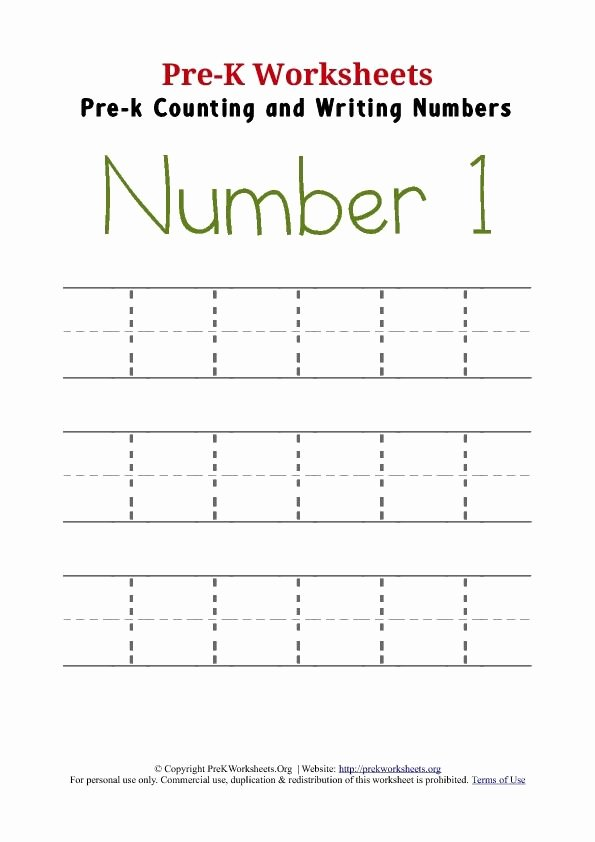 Tracing Numbers 1 Worksheets for Preschoolers Inspirational Number Tracing Pre K