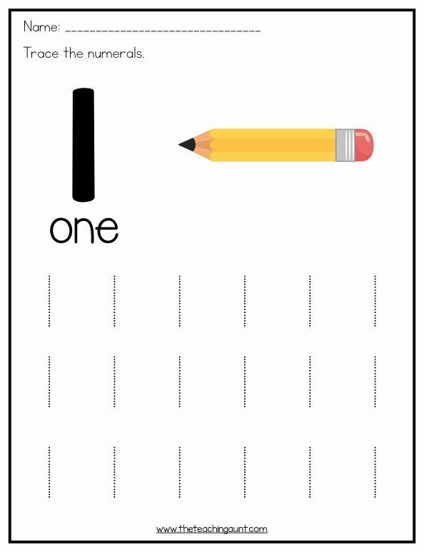 Tracing Numbers 1 Worksheets for Preschoolers Lovely Number Tracing Worksheets for Preschoolers the Teaching Aunt