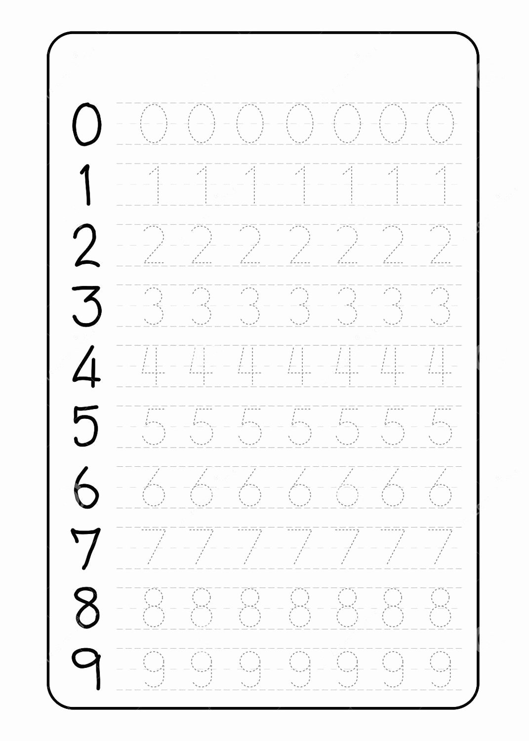 Tracing Numbers Worksheets for Preschoolers Kids Number Trace Worksheets Preschool Tracing for Magic Math