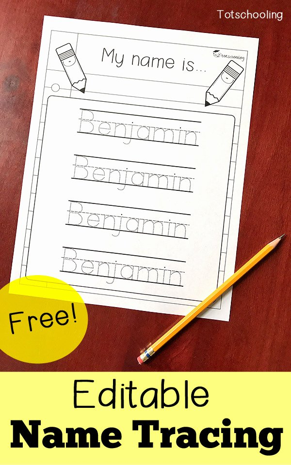 Tracing Your Name Worksheets for Preschoolers top Editable Name Tracing Sheet
