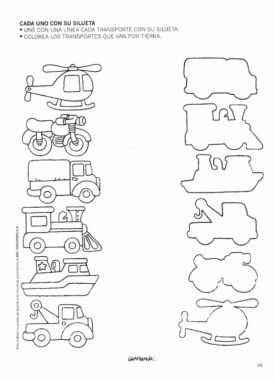 Transport Worksheets for Preschoolers New Transportation Shadow Matching Worksheet 1