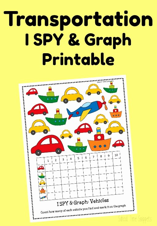 Transport Worksheets for Preschoolers Printable Count & Graph Transportation Activity