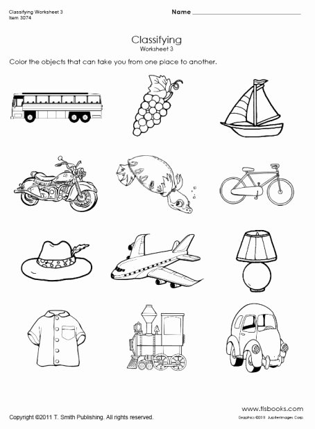 Transportation Worksheets for Preschoolers Best Of Transportation Classifying Worksheet 3