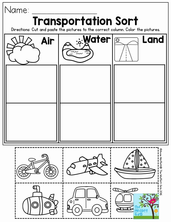 Transportation Worksheets for Preschoolers Inspirational Transportation sort Air Water or Land Perfect for