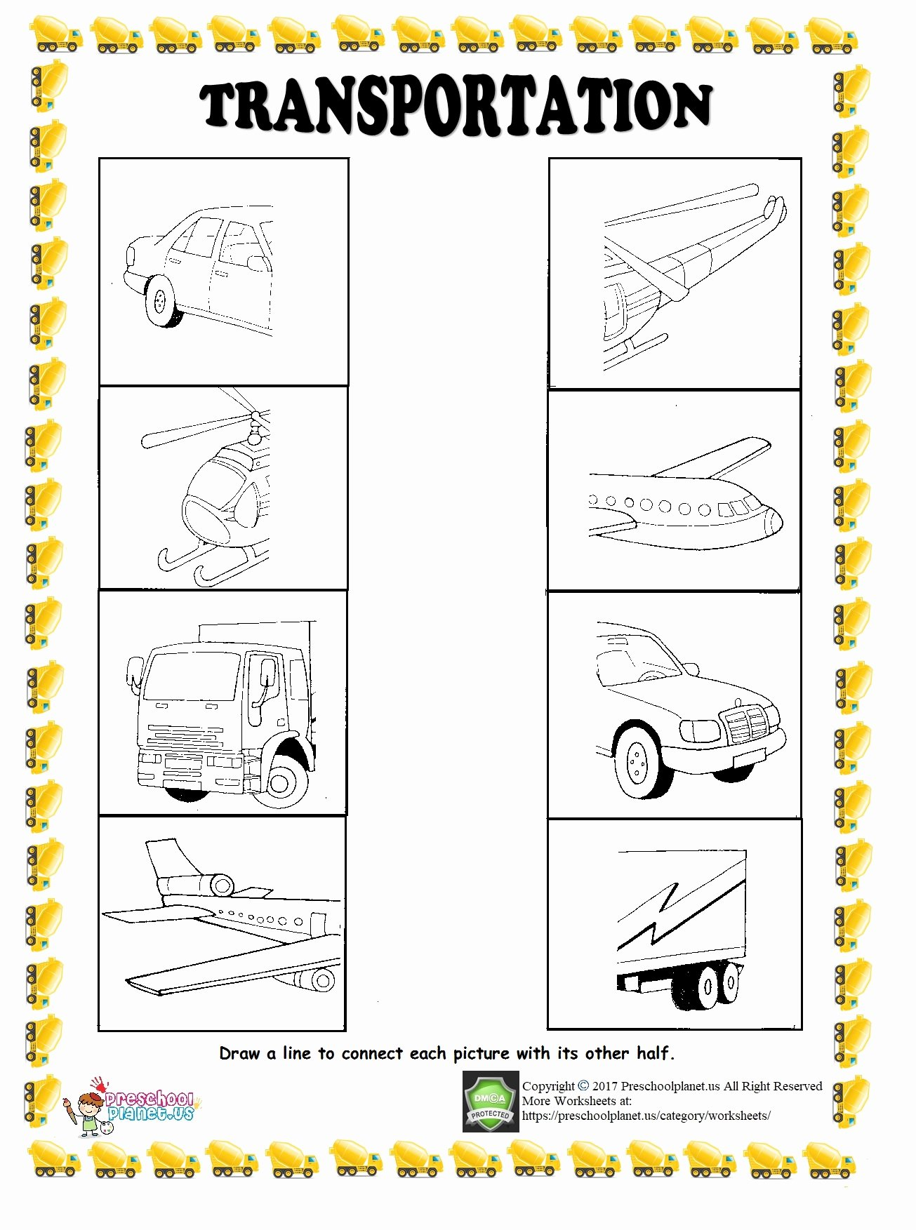 Transportation Worksheets for Preschoolers Kids Find Half Of Given Transportation Worksheet – Preschoolplanet