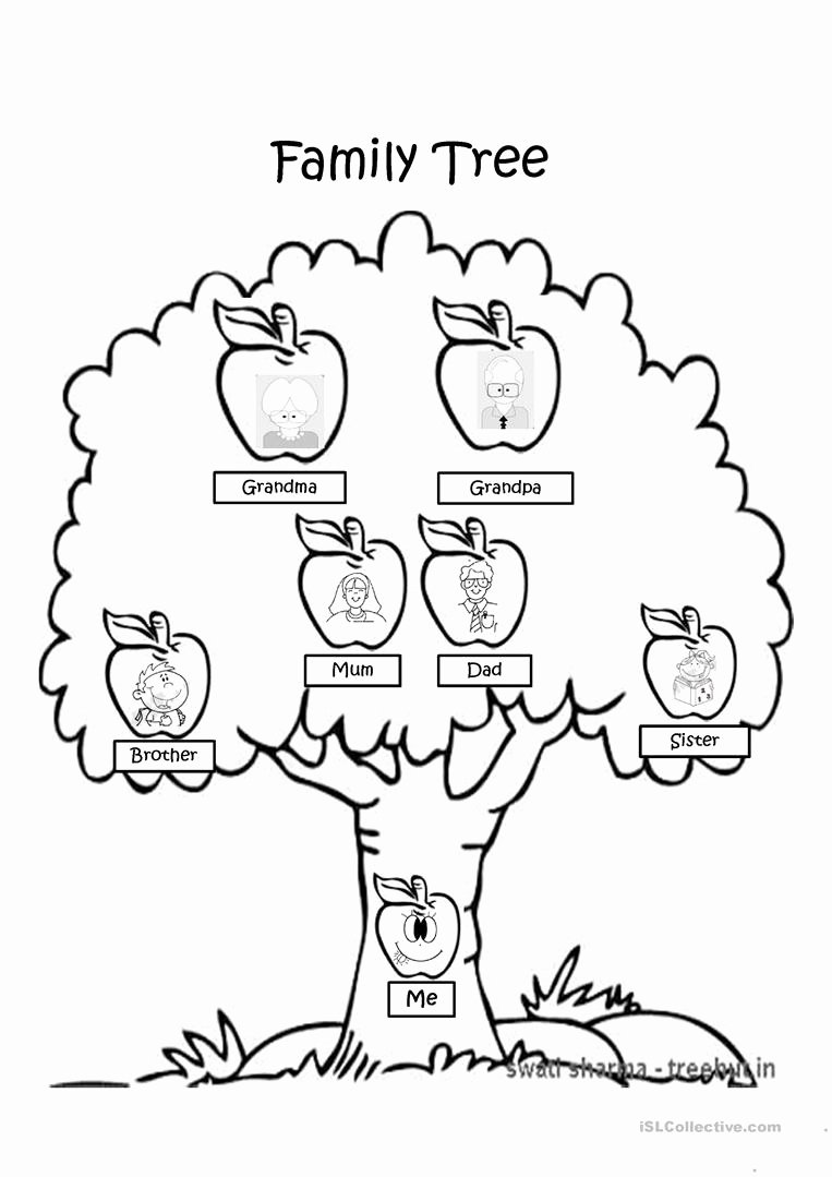 Tree Coloring Worksheets for Preschoolers Kids Family Tree Coloring Page English Esl Powerpoints for