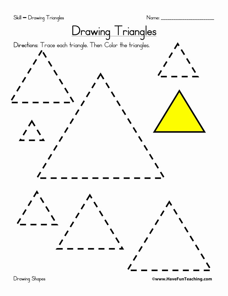 Triangle Worksheets for Preschoolers Best Of Drawing Triangles Worksheet