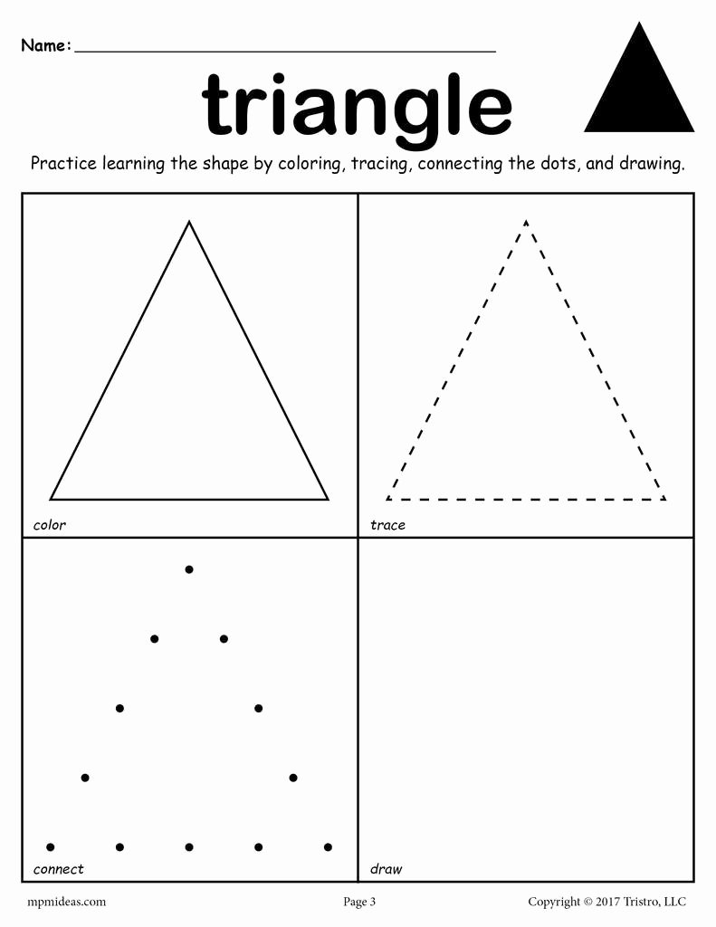 Triangle Worksheets for Preschoolers Kids Triangle Shape Worksheet Color Trace Connect & Draw
