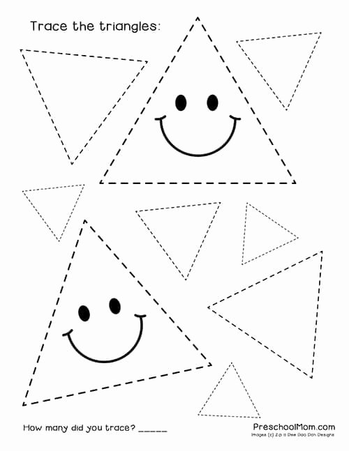 Triangle Worksheets for Preschoolers Printable Shape Tracing Worksheets Preschool Mom Triangle