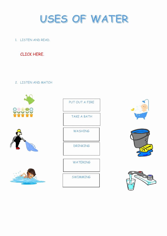 Uses Of Water Worksheets for Preschoolers Free Uses Of Water Interactive Worksheet