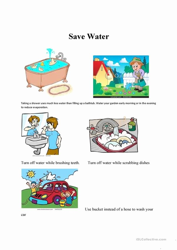 Uses Of Water Worksheets for Preschoolers Lovely Saving Water Esl Worksheet by Mariajoao7 Activities