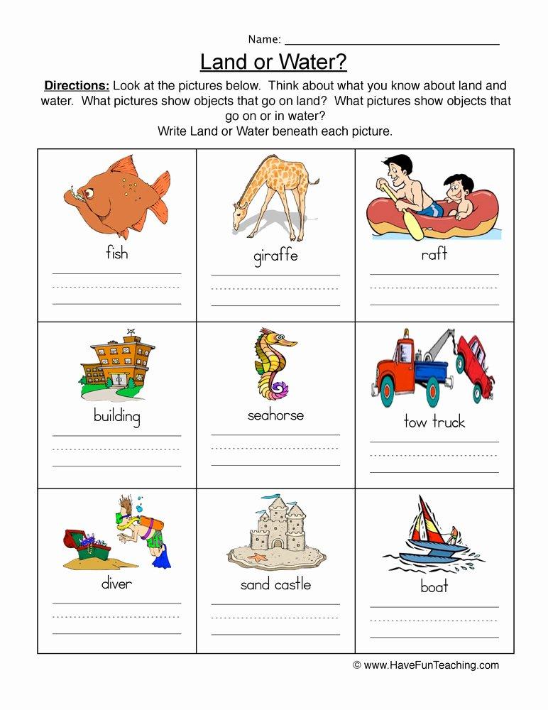 Uses Of Water Worksheets for Preschoolers top Land and Water Worksheet