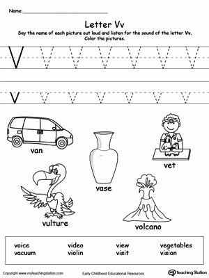 V Worksheets for Preschoolers Free Words Starting with Letter V
