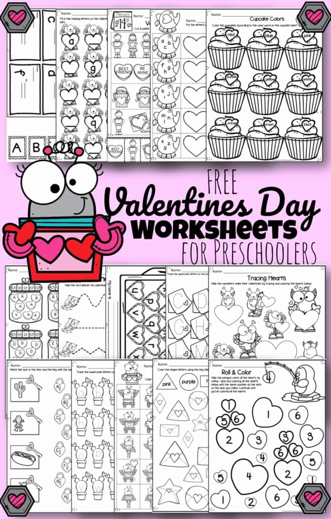 Valentine Worksheets for Preschoolers Best Of tons Of Free Valentines Day Worksheets