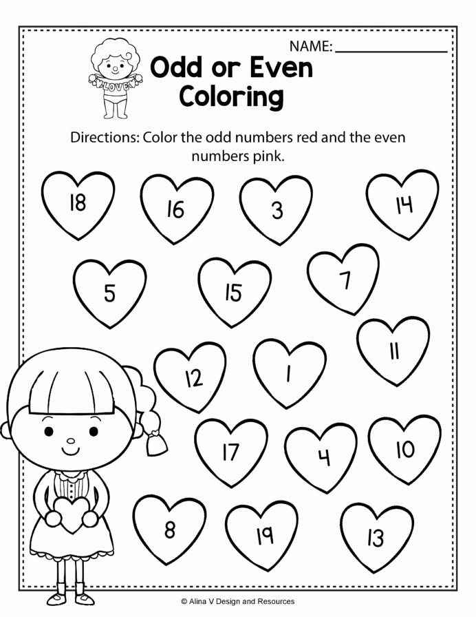 Valentine Worksheets for Preschoolers Printable Valentine Odd even Coloring Math Worksheets and