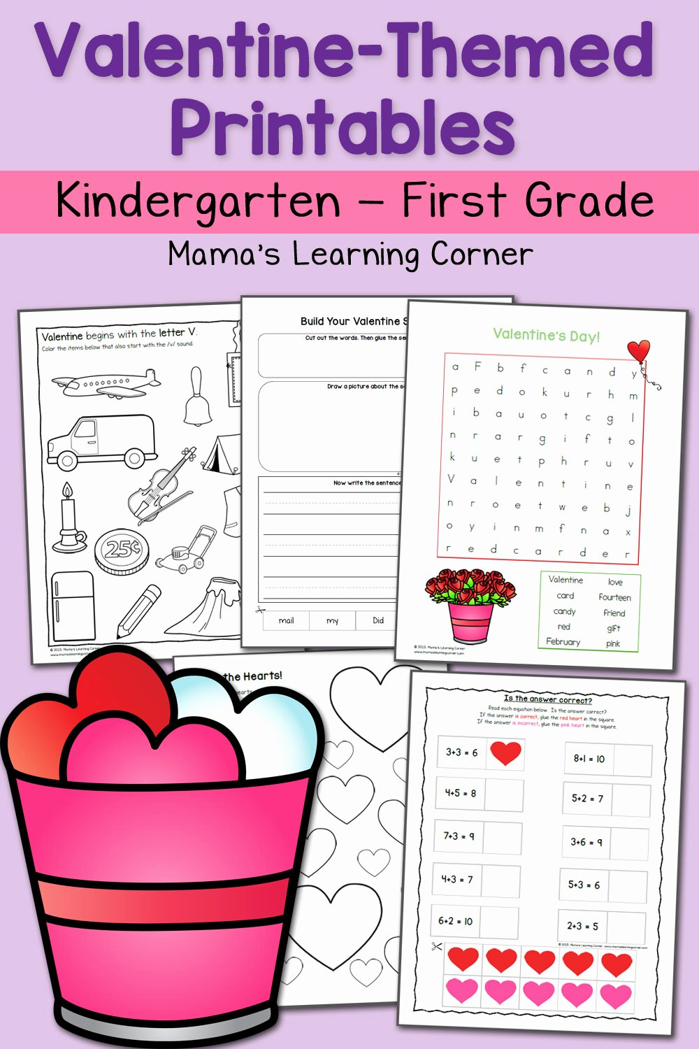 Valentine Worksheets for Preschoolers Printable Valentine Worksheets for Kindergarten and First Grade