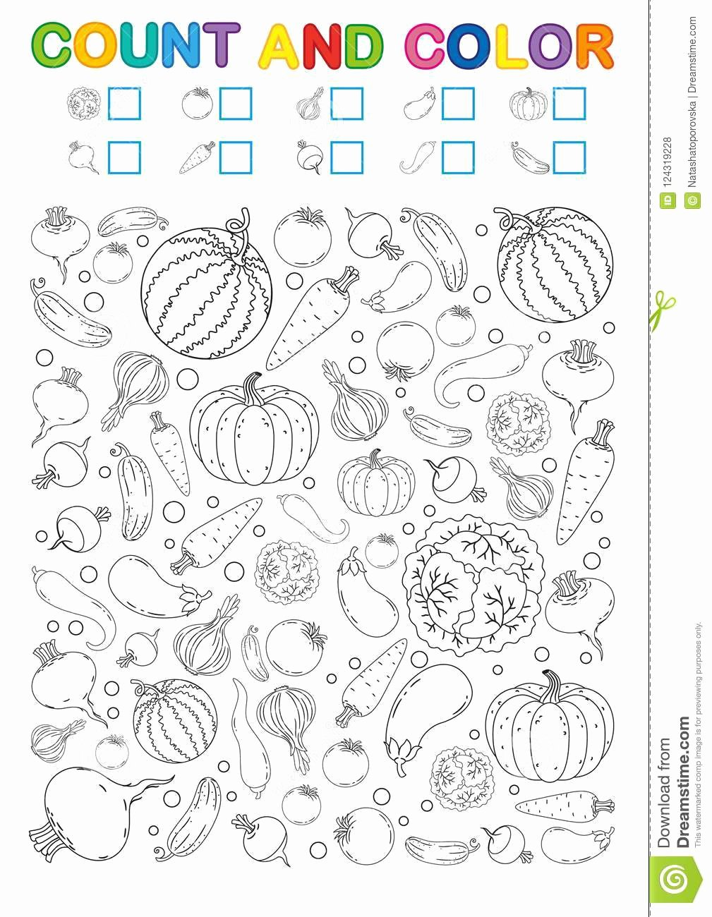 Vegetables Worksheets for Preschoolers Inspirational Coloring Book Page Count and Color Printable Worksheet for