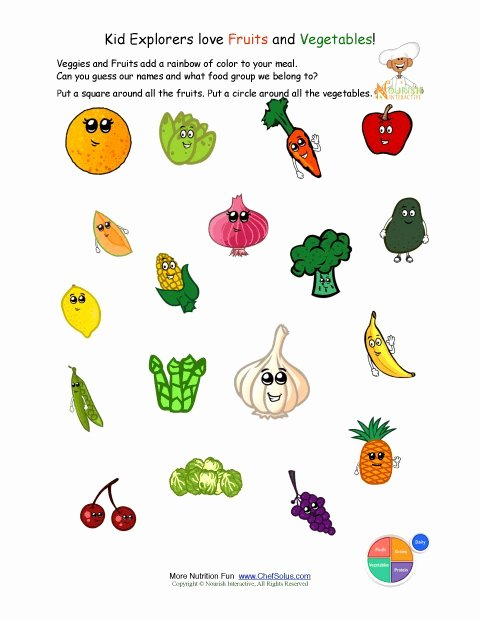 Vegetables Worksheets for Preschoolers Inspirational Printable Identify the Fruits and Ve Ables Worksheet