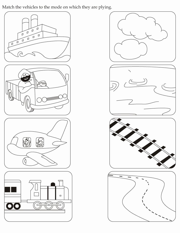 Vehicles Worksheets for Preschoolers Best Of English Activity Worksheet Match the Vehicles to